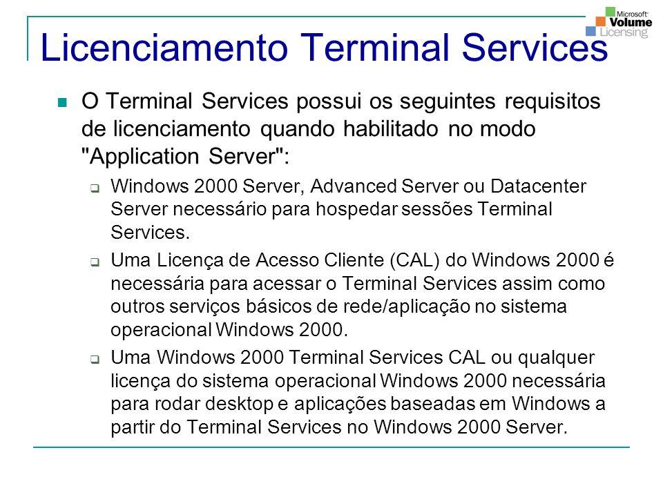 Licenciamento Terminal Services O Terminal Services possui os seguintes requisitos de licenciamento quando habilitado no modo