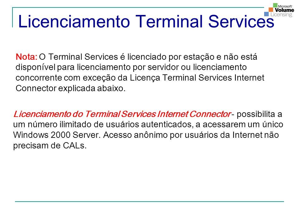 Licenciamento Terminal Services Licenciamento do Terminal Services Internet Connector - possibilita a um n ú mero ilimitado de usu á rios autenticados
