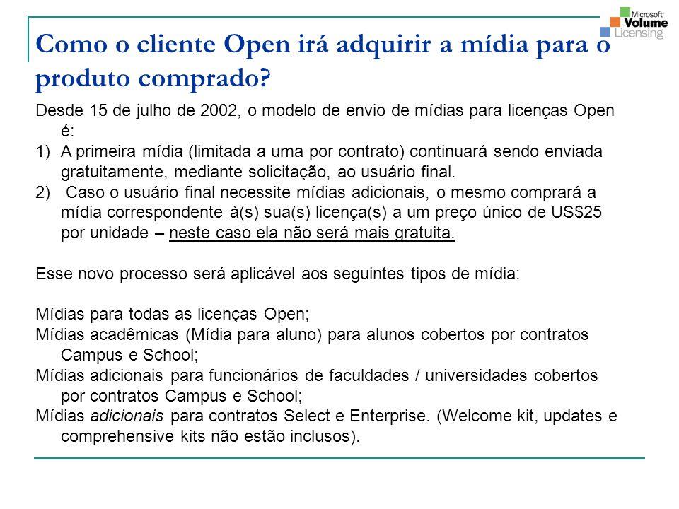 Como o cliente Open irá adquirir a mídia para o produto comprado? Desde 15 de julho de 2002, o modelo de envio de mídias para licenças Open é: 1)A pri