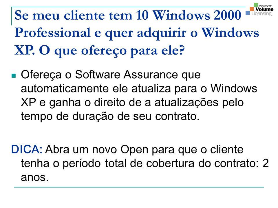Se meu cliente tem 10 Windows 2000 Professional e quer adquirir o Windows XP. O que ofereço para ele? Ofereça o Software Assurance que automaticamente