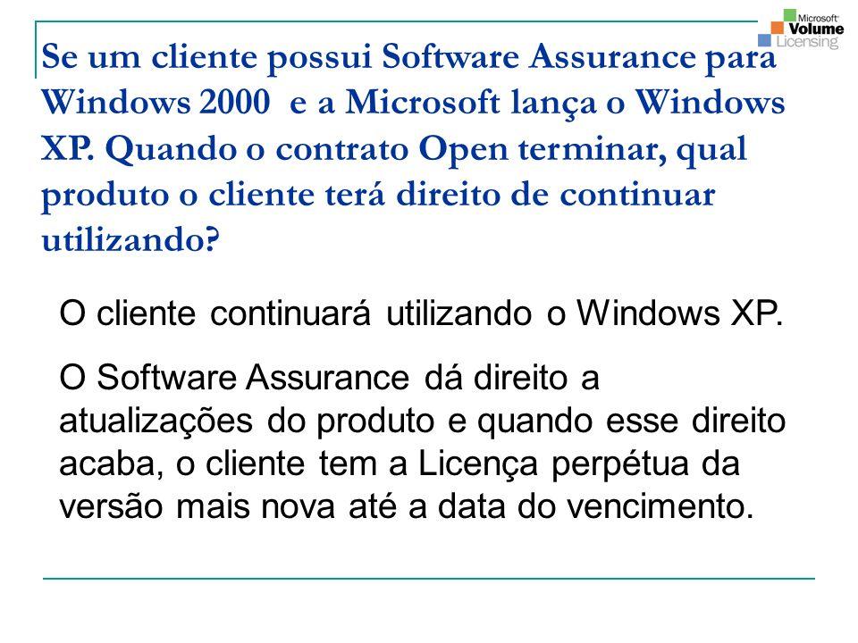 Se um cliente possui Software Assurance para Windows 2000 e a Microsoft lança o Windows XP. Quando o contrato Open terminar, qual produto o cliente te