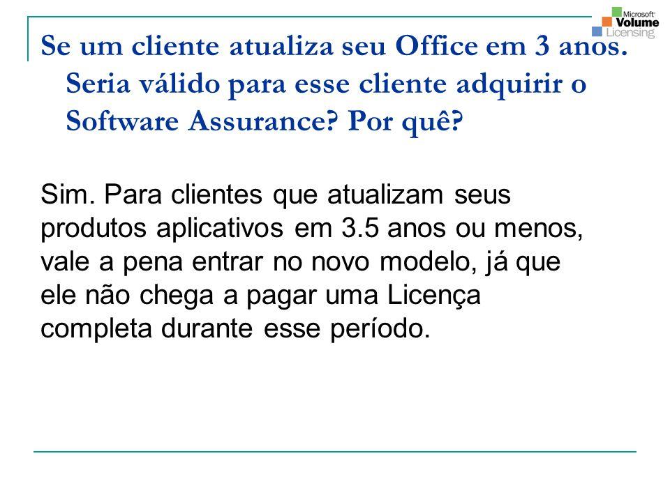 Se um cliente atualiza seu Office em 3 anos. Seria válido para esse cliente adquirir o Software Assurance? Por quê? Sim. Para clientes que atualizam s