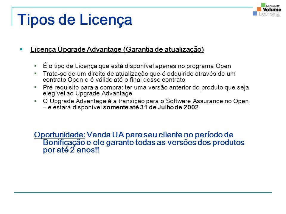 Tipos de Licença Licença Upgrade Advantage (Garantia de atualização) É o tipo de Licença que está disponível apenas no programa Open Trata-se de um di