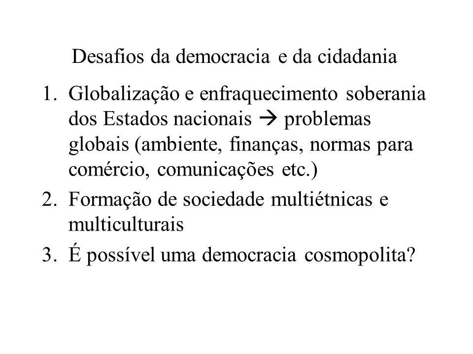 O que é cidadania? Entre os gregos = cidadania como participação Na modernidade, após revoluções norte-americana e francesa = cidadania é algo mais pa