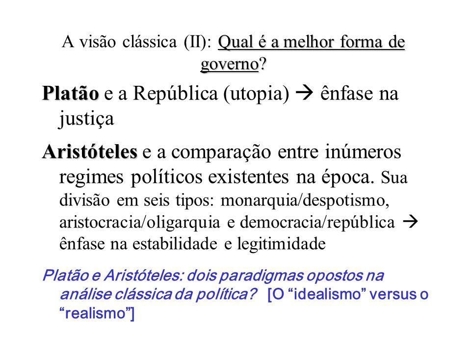 Qual é a melhor forma de governo? (Quem governa e como governa?) A visão clássica: Qual é a melhor forma de governo? (Quem governa e como governa?) He