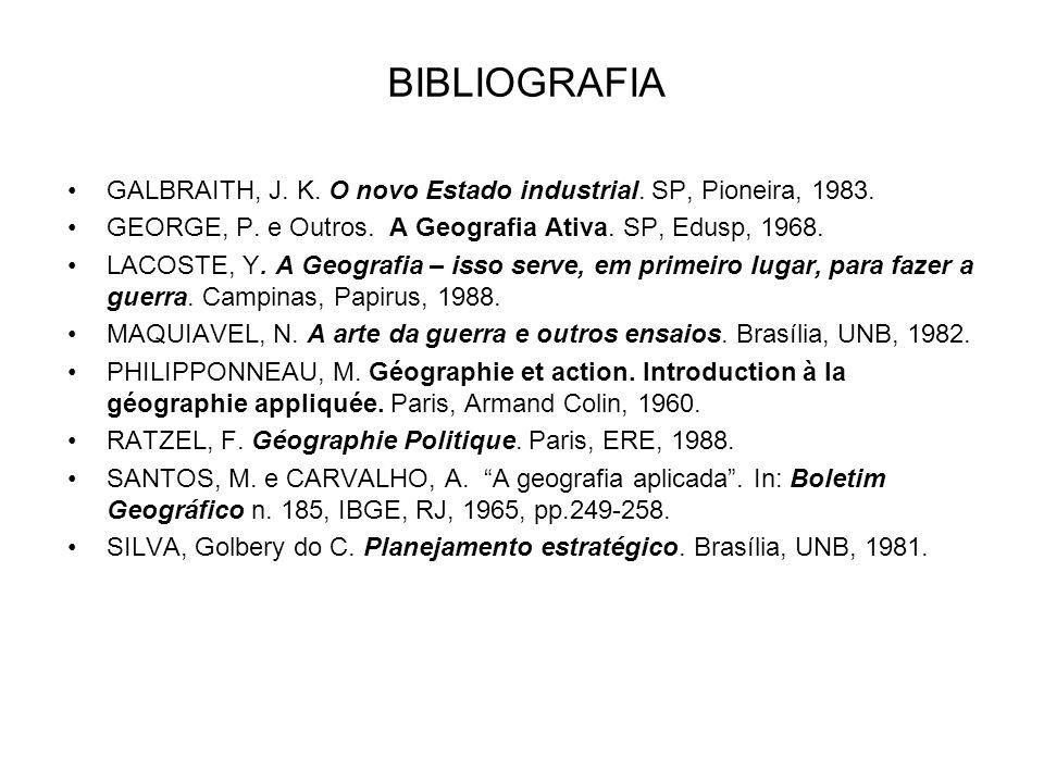 BIBLIOGRAFIA GALBRAITH, J. K. O novo Estado industrial. SP, Pioneira, 1983. GEORGE, P. e Outros. A Geografia Ativa. SP, Edusp, 1968. LACOSTE, Y. A Geo