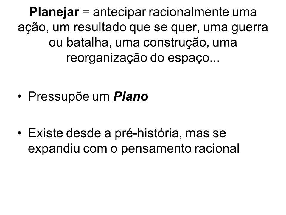 Planejar = antecipar racionalmente uma ação, um resultado que se quer, uma guerra ou batalha, uma construção, uma reorganização do espaço... Pressupõe