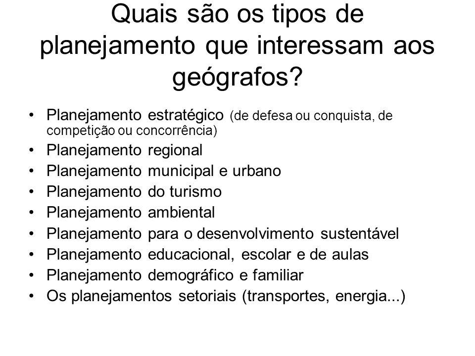 Quais são os tipos de planejamento que interessam aos geógrafos? Planejamento estratégico (de defesa ou conquista, de competição ou concorrência) Plan