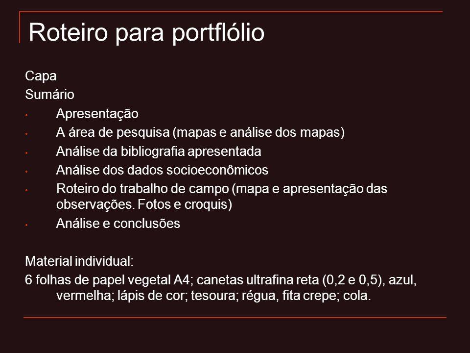 Roteiro para portflólio Capa Sumário Apresentação A área de pesquisa (mapas e análise dos mapas) Análise da bibliografia apresentada Análise dos dados