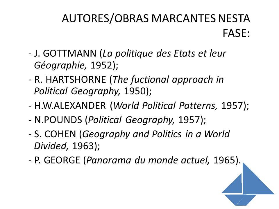 AUTORES/OBRAS MARCANTES NESTA FASE: - J. GOTTMANN (La politique des Etats et leur Géographie, 1952); - R. HARTSHORNE (The fuctional approach in Politi