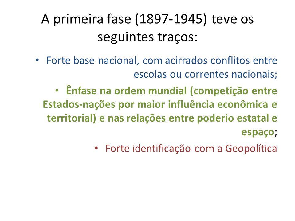 AUTORES/OBRAS MARCANTES NESSA PRIMEIRA FASE: - RATZEL; - VIDAL DE LA BLACHE (La Géographie Politique à propos des écrits de M.F.Ratzel, 1898); - ALBERT DEMANGEON (Géographie Politique, 1932); - HALFORD MACKINDER (Geographical Pivot of History, 1904); - J.BRUNHES E C.VALLAUX (Géographie de lhistoire.