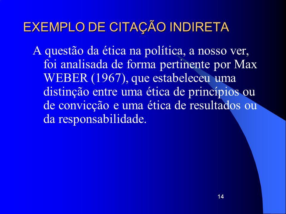 EXEMPLO DE CITAÇÃO INDIRETA A questão da ética na política, a nosso ver, foi analisada de forma pertinente por Max WEBER (1967), que estabeleceu uma d