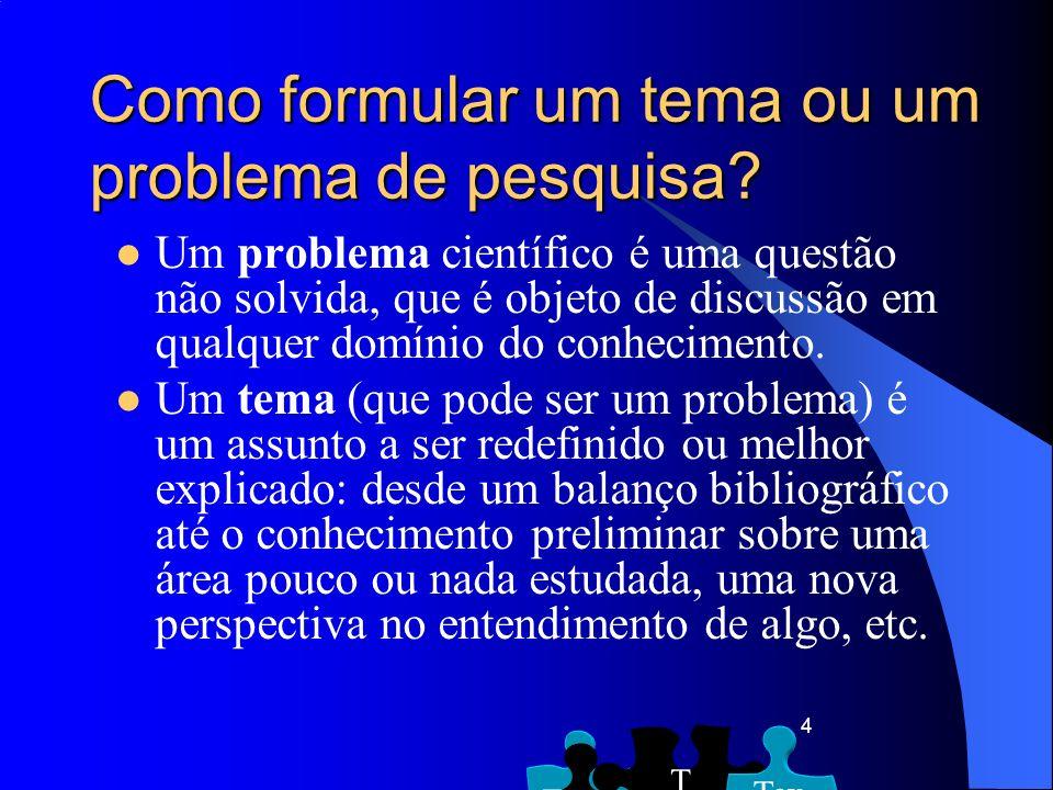 4 Um problema científico é uma questão não solvida, que é objeto de discussão em qualquer domínio do conhecimento. Um tema (que pode ser um problema)