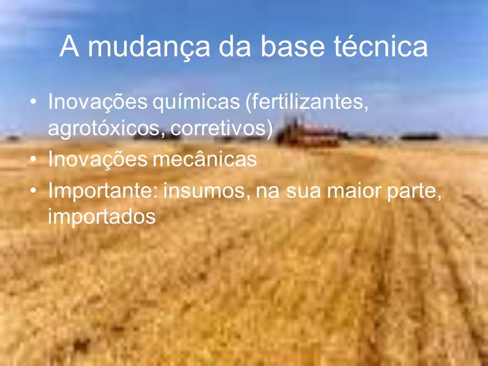 A mudança da base técnica Inovações químicas (fertilizantes, agrotóxicos, corretivos) Inovações mecânicas Importante: insumos, na sua maior parte, imp