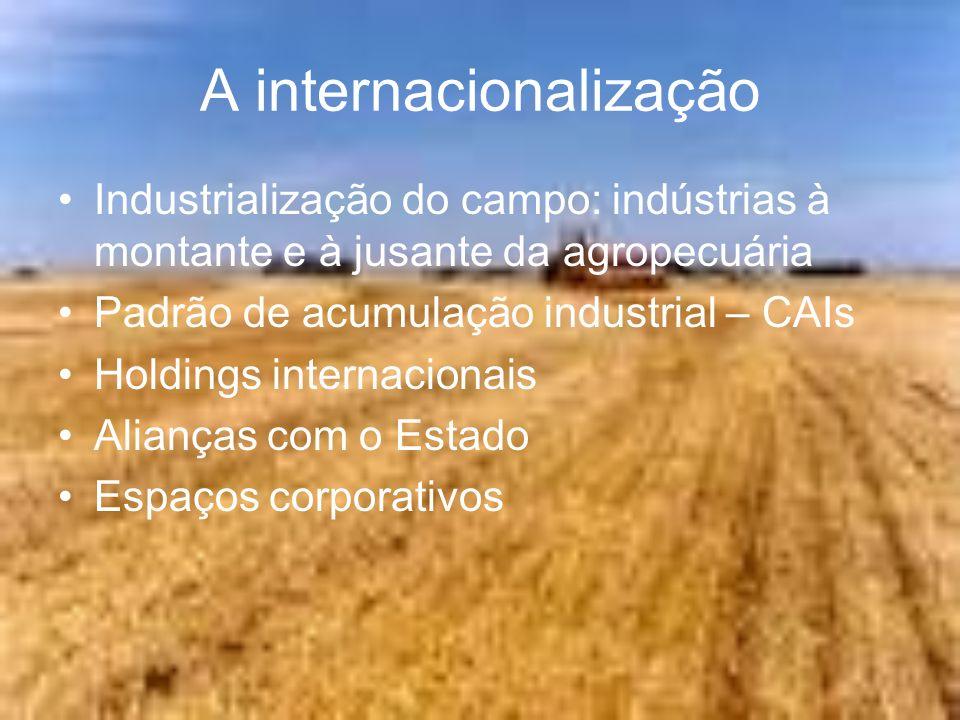 A internacionalização Industrialização do campo: indústrias à montante e à jusante da agropecuária Padrão de acumulação industrial – CAIs Holdings int