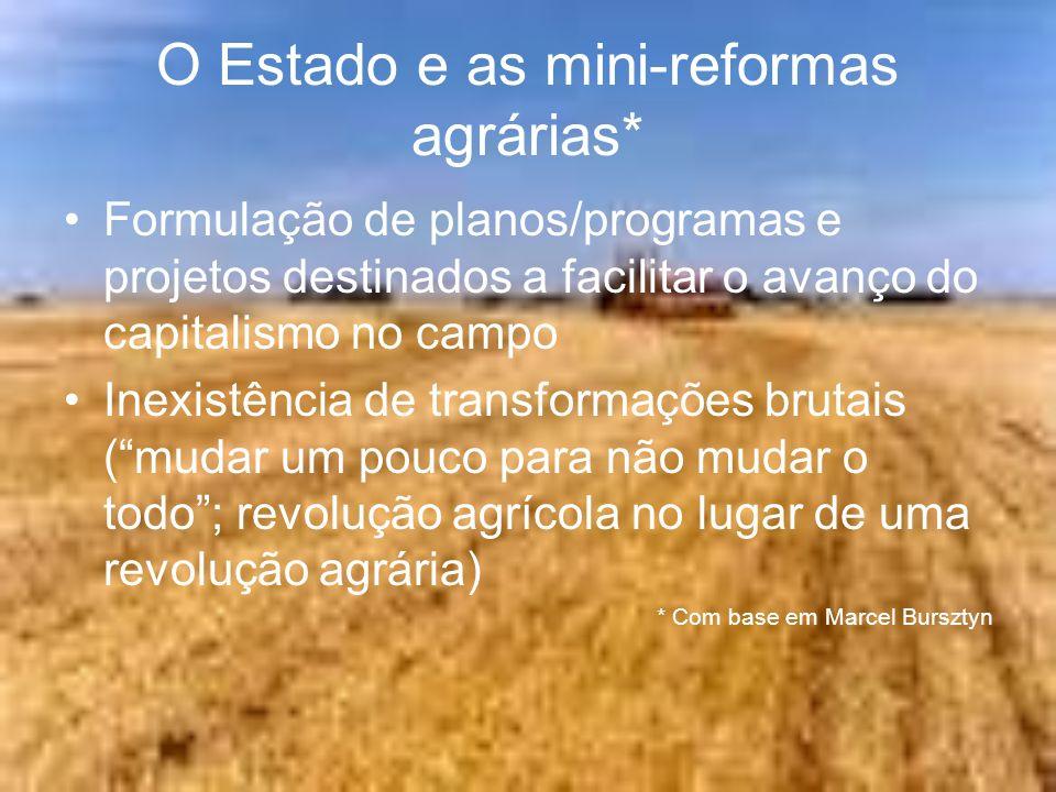 O Estado e as mini-reformas agrárias* Formulação de planos/programas e projetos destinados a facilitar o avanço do capitalismo no campo Inexistência d