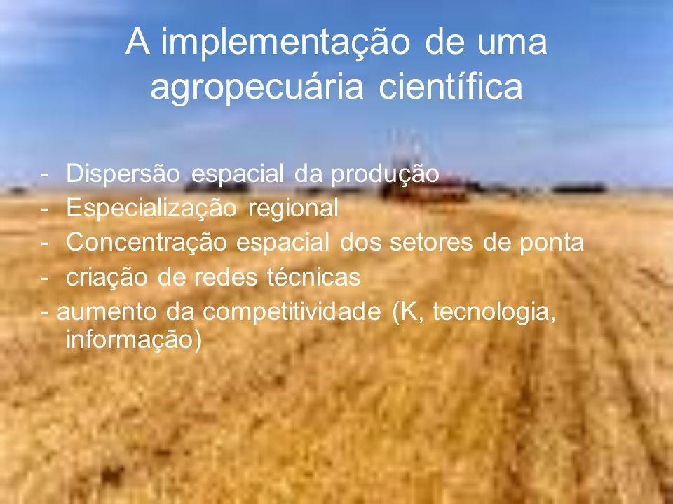 A implementação de uma agropecuária científica -Dispersão espacial da produção -Especialização regional -Concentração espacial dos setores de ponta -c