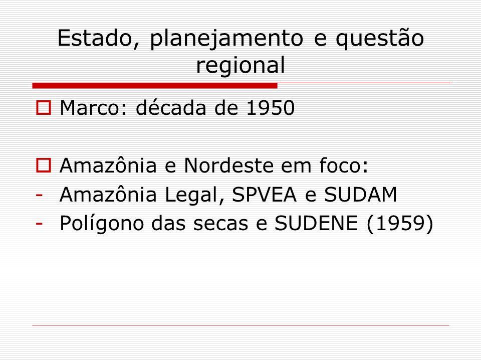 Estado, planejamento e questão regional Marco: década de 1950 Amazônia e Nordeste em foco: -Amazônia Legal, SPVEA e SUDAM -Polígono das secas e SUDENE