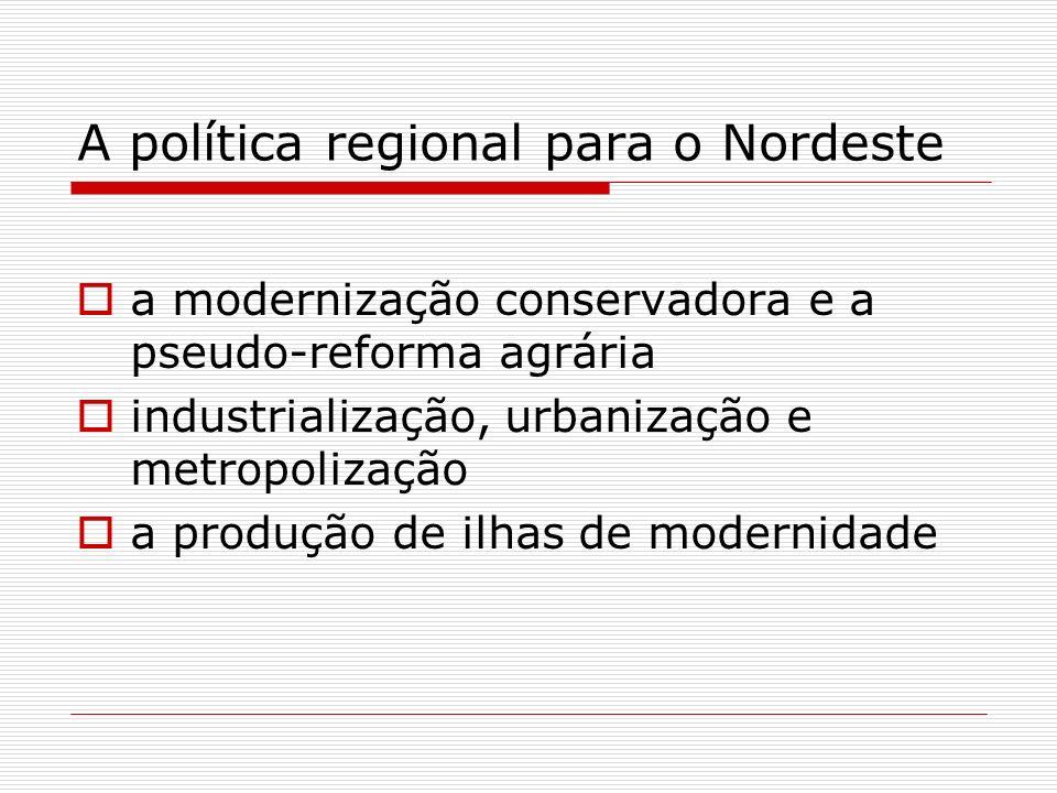 A política regional para o Nordeste a modernização conservadora e a pseudo-reforma agrária industrialização, urbanização e metropolização a produção d