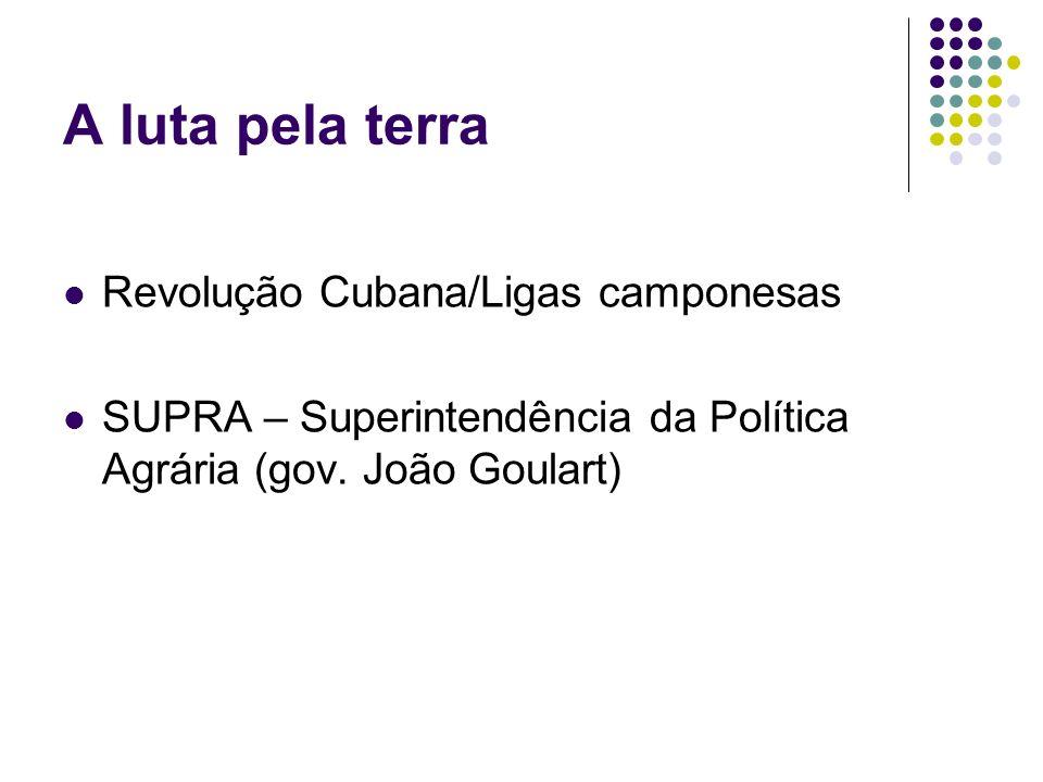 A luta pela terra Revolução Cubana/Ligas camponesas SUPRA – Superintendência da Política Agrária (gov. João Goulart)