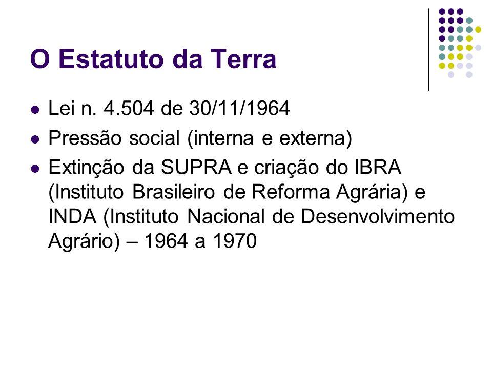 O Estatuto da Terra Lei n. 4.504 de 30/11/1964 Pressão social (interna e externa) Extinção da SUPRA e criação do IBRA (Instituto Brasileiro de Reforma