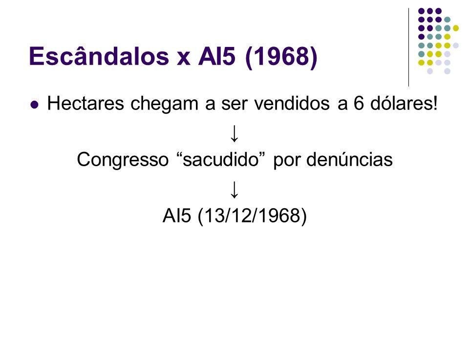 Escândalos x AI5 (1968) Hectares chegam a ser vendidos a 6 dólares! Congresso sacudido por denúncias AI5 (13/12/1968)