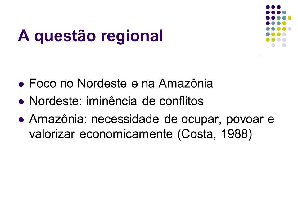 A política regional para a Amazônia Superintendência da Defesa da Borracha (1912) Banco de Crédito da Borracha (1942) Criação da SPVEA (Superintendência do Plano de Valorização Econômica da Amazônia) (1953)