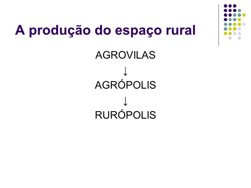 A produção do espaço rural AGROVILAS AGRÓPOLIS RURÓPOLIS
