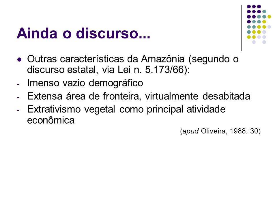 Ainda o discurso... Outras características da Amazônia (segundo o discurso estatal, via Lei n. 5.173/66): - Imenso vazio demográfico - Extensa área de
