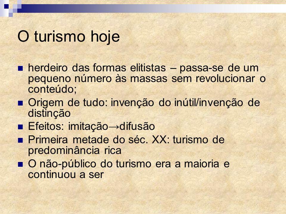 O turismo hoje herdeiro das formas elitistas – passa-se de um pequeno número às massas sem revolucionar o conteúdo; Origem de tudo: invenção do inútil