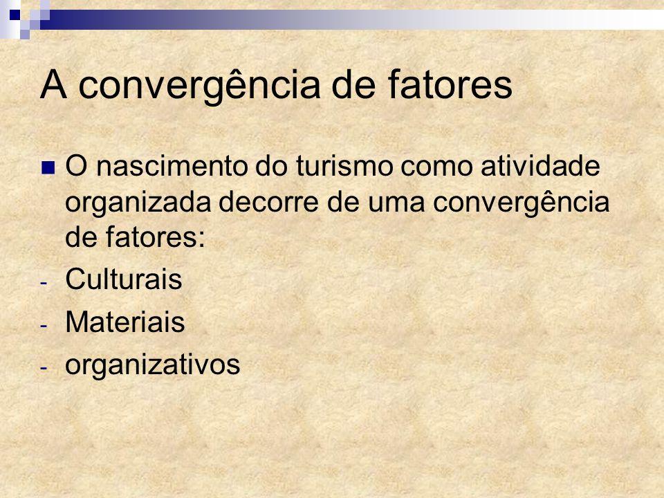 A convergência de fatores O nascimento do turismo como atividade organizada decorre de uma convergência de fatores: - Culturais - Materiais - organiza
