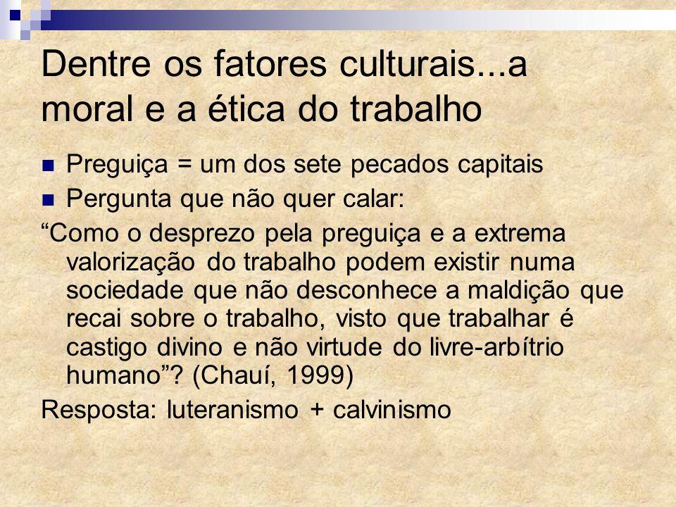 Dentre os fatores culturais...a moral e a ética do trabalho Preguiça = um dos sete pecados capitais Pergunta que não quer calar: Como o desprezo pela