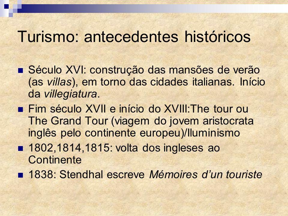 Turismo: antecedentes históricos Século XVI: construção das mansões de verão (as villas), em torno das cidades italianas. Início da villegiatura. Fim