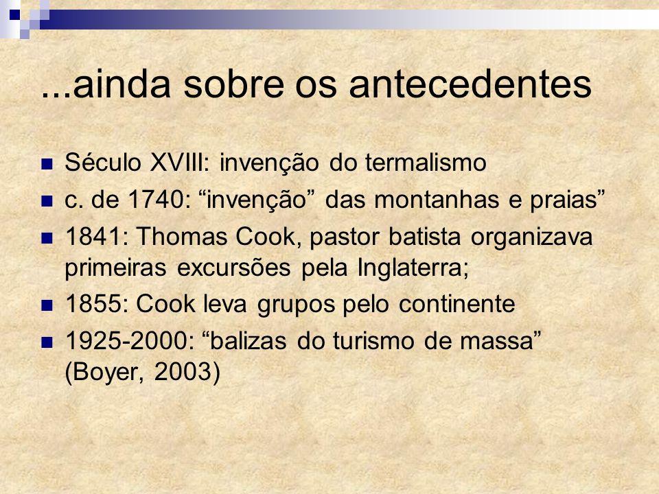 Século XVIII: invenção do termalismo c. de 1740: invenção das montanhas e praias 1841: Thomas Cook, pastor batista organizava primeiras excursões pela
