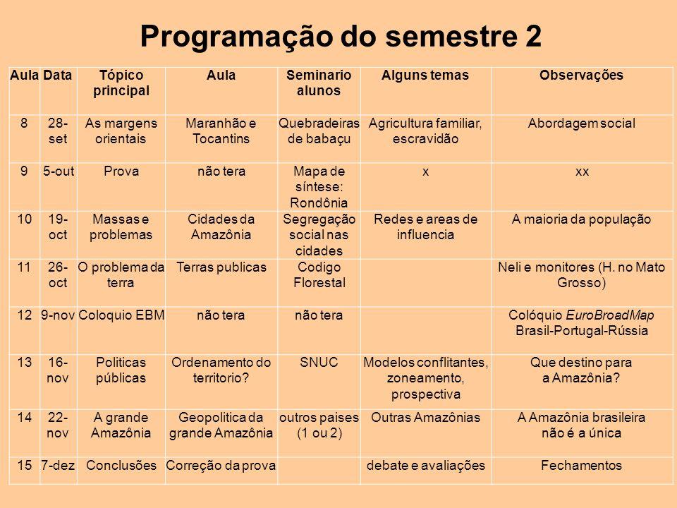Programação do semestre 2 AulaDataTópico principal AulaSeminario alunos Alguns temasObservações 828- set As margens orientais Maranhão e Tocantins Que