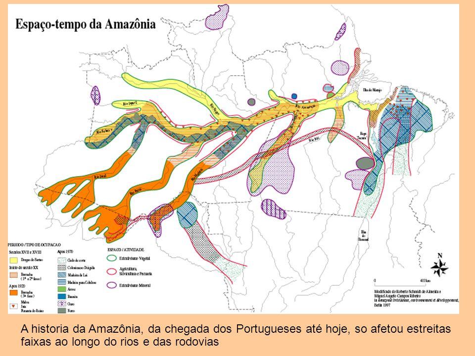 A historia da Amazônia, da chegada dos Portugueses até hoje, so afetou estreitas faixas ao longo do rios e das rodovias