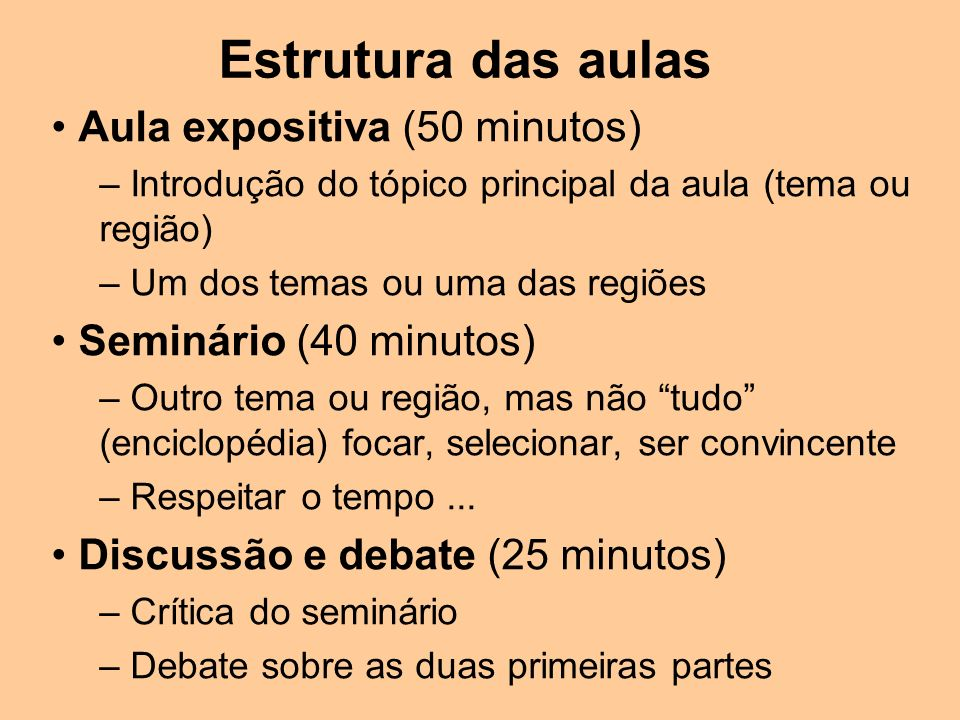 Estrutura das aulas Aula expositiva (50 minutos) – Introdução do tópico principal da aula (tema ou região) – Um dos temas ou uma das regiões Seminário