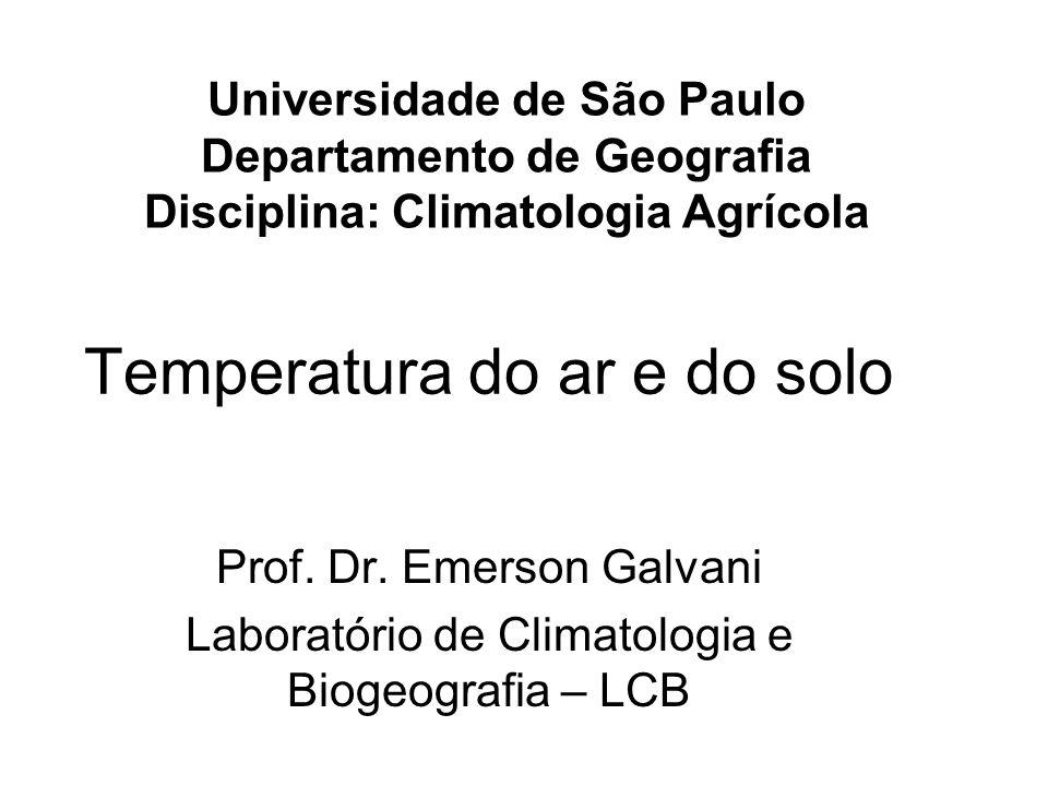 Variação Temporal da Temperatura do Ar - Diária A temperatura do ar varia basicamente em função da disponibilidade de radiação solar na superfície terrestre.