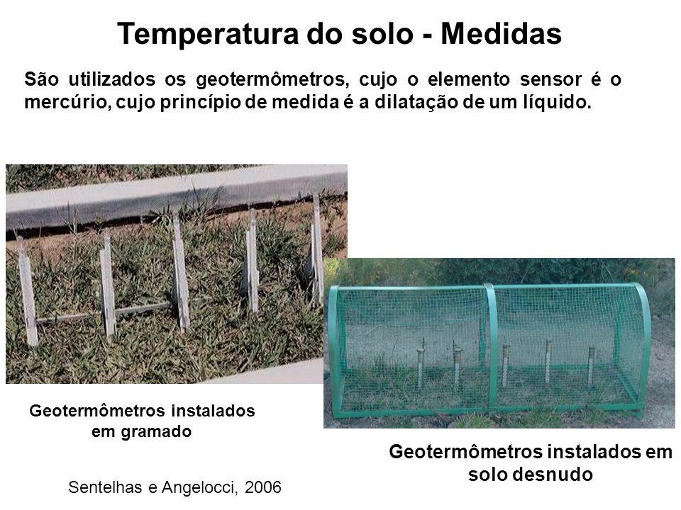 Temperatura do solo - Medidas São utilizados os geotermômetros, cujo o elemento sensor é o mercúrio, cujo princípio de medida é a dilatação de um líqu