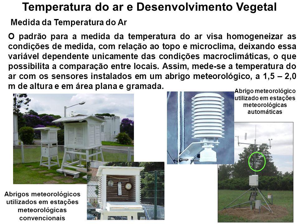 Nos vegetais, a taxa das reações metabólicas é regulada basicamente pela temperatura do ar, afetando, desse modo, tanto o crescimento como o desenvolvimento das plantas.