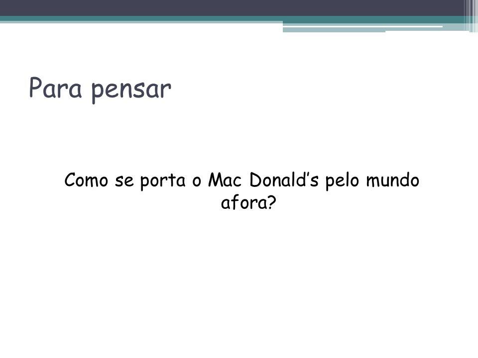 Para pensar Como se porta o Mac Donalds pelo mundo afora?