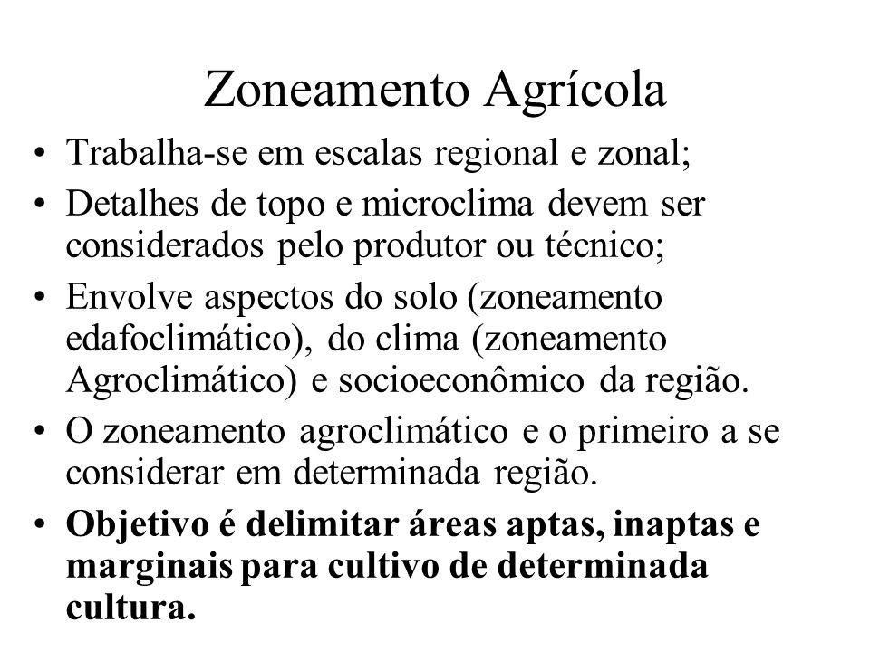 Zoneamento Agrícola Trabalha-se em escalas regional e zonal; Detalhes de topo e microclima devem ser considerados pelo produtor ou técnico; Envolve as