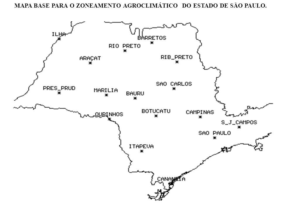 MAPA BASE PARA O ZONEAMENTO AGROCLIMÁTICO DO ESTADO DE SÃO PAULO.