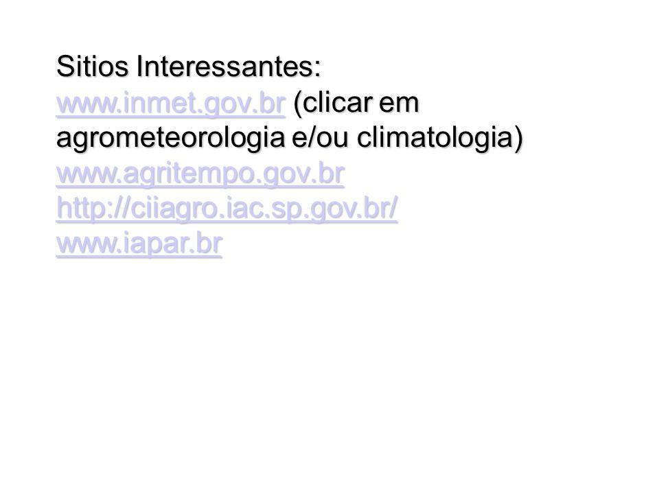 Sitios Interessantes: www.inmet.gov.brwww.inmet.gov.br (clicar em agrometeorologia e/ou climatologia) www.inmet.gov.br www.agritempo.gov.br http://cii