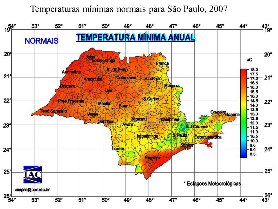 Temperaturas mínimas normais para São Paulo, 2007