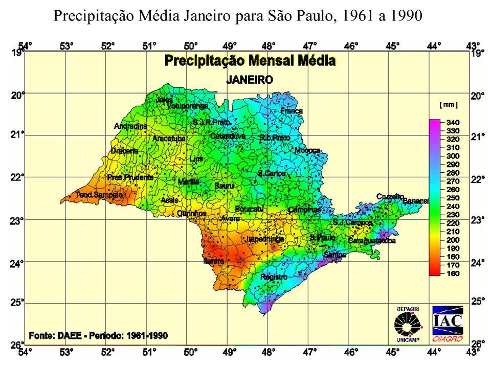 Precipitação Média Janeiro para São Paulo, 1961 a 1990
