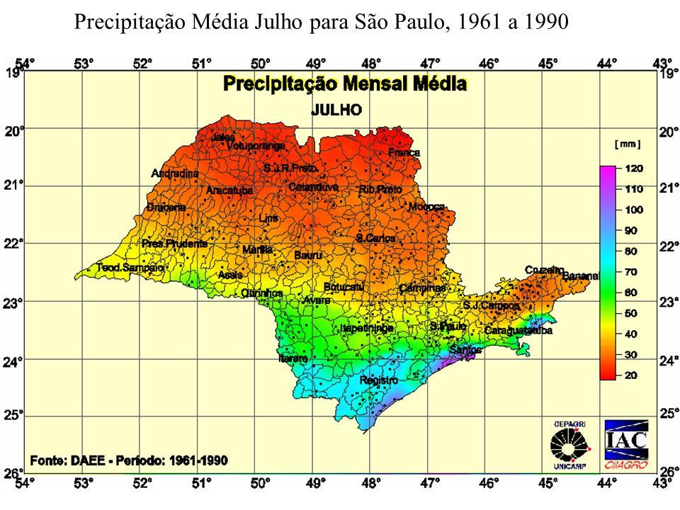 Precipitação Média Julho para São Paulo, 1961 a 1990