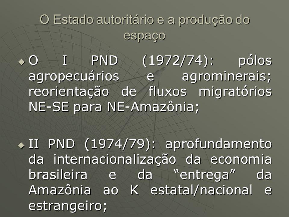 O Estado autoritário e a produção do espaço O I PND (1972/74): pólos agropecuários e agrominerais; reorientação de fluxos migratórios NE-SE para NE-Amazônia; O I PND (1972/74): pólos agropecuários e agrominerais; reorientação de fluxos migratórios NE-SE para NE-Amazônia; II PND (1974/79): aprofundamento da internacionalização da economia brasileira e da entrega da Amazônia ao K estatal/nacional e estrangeiro; II PND (1974/79): aprofundamento da internacionalização da economia brasileira e da entrega da Amazônia ao K estatal/nacional e estrangeiro;