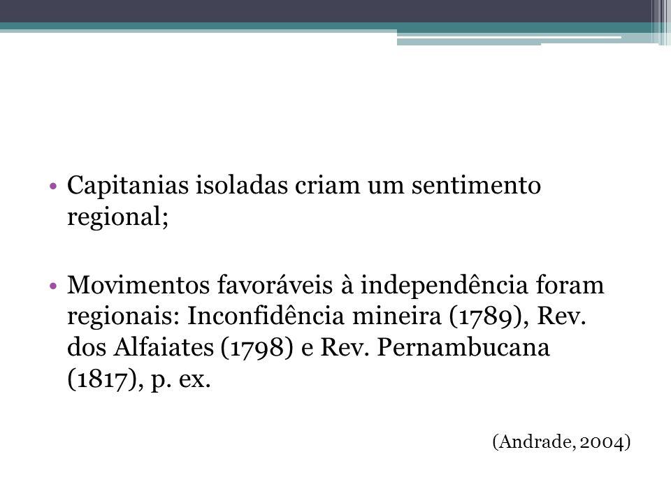 Capitanias isoladas criam um sentimento regional; Movimentos favoráveis à independência foram regionais: Inconfidência mineira (1789), Rev. dos Alfaia