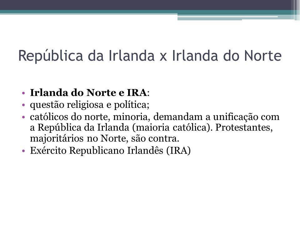 República da Irlanda x Irlanda do Norte Irlanda do Norte e IRA: questão religiosa e política; católicos do norte, minoria, demandam a unificação com a